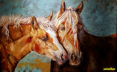 A toll on your mind, body and spirit..A beautiful painting.. (zairakhan) Tags: painting artwork artgallery parkcityutah indoor horses animal