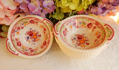 Johnson Brothers Porcelain Lugged Handled Bowls ~ Winchester ~ Floral (Donna's Collectables) Tags: johnson brothers porcelain lugged handled bowls ~ winchester floral thanksgiving christmas