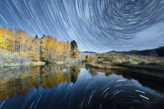 Star Trails Over Eastern Sierra Fall Colors Reflected (Jeffrey Sullivan) Tags: star trails fall colors reflection astrophotography stars lee vining monocounty california astronomy usa landscape nature night photography canon eos 6d jeffsullivan photo copyright october 2016 jeff sullivan allrightsreserved science