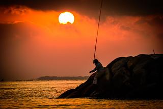 夕日の釣り人ーSunset angler