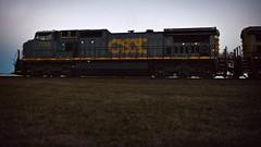 With the last light of the day (builder24car) Tags: railfanning benchingthefreights lastlight perspective lookingup conductor csx csx7755 c408w hamletnorthcarolina