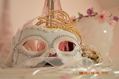 December Pics 006 (brittany_burrie) Tags: decemberpics staged soft white pink mask masquerade crown gold ribbon pearl flowers light vase