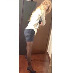 Denim Skirt and Swiss Dot Pantyhose (Julia Cool) Tags: pantyhose tights hosiery stockings nylon transgender tgirl heels julia cool collant calze strumpfhosen sissy trap transvestite amateur transgenderpantyhose juliacool highheels