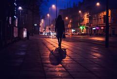 It melts into wonder (ewitsoe) Tags: fog autumn street woman walking city urban ewitsoe poznan nikon d80 35mm aurtumn dawn monring evening night dark lady silhouette