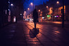 It melts into wonder (ewitsoe) Tags: fog autumn street woman walking city urban ewitsoe poznan nikon d80 35mm aurtumn dawn monring evening night dark lady silhouette