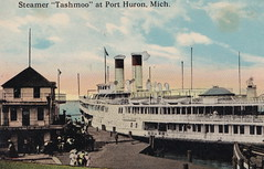 SHIP Port Huron MI c.1907 THE STEAMER EXCURSION FERRY SS TASHMOO at the Port Huron Ferry Docks ready to return Downriver to St Clair Harsens Island San Souci Detroit & other stops along the way1 (UpNorth Memories - Donald (Don) Harrison) Tags: christmas santa jesus vintage antique postcard rppc don harrison upnorth memories upnorth memories upnorthmemories michigan history heritage travel tourism michigan roadside restaurants cafes motels hotels tourist stops travel trailer parks campgrounds cottages cabins roadside entertainment natural wonders attractions usa puremichigan  railroad ferry car excursion