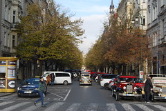 Tree lined avenue - Prague (Halliwell_Michael ## Thanks you for your visits #) Tags: prague2016 autumn 2016 nikond40x prague czechrepublic cars trees autumncolour street perspective city cities vehicles saariysqualitypictures