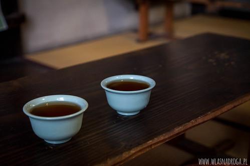 Zimna herbata w upalny dzień. Park w Narze