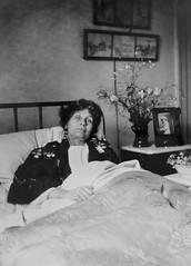 Emmeline Pankhurst in bed, c.1913.