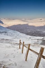 Paraglider over Glen Coe (mark_mullen) Tags: uk winter snow mountains cold landscape scotland highlands scenery skiing snowy footprints scottish highland glencoe paraglider lochaber snowsports canon24105f4 glencoemountainresort canon5dmk3 markmullenphotography