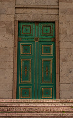 The Mysterious Green Door (gabi_halla) Tags: architecture door outdoor texture abstract text bright mysterious building closed green gold golden decoration detail brick bricks basilica stairs wall