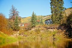 Back of Jensen's Farm - Nordenskiold River (MIKOFOX  Show Your EXIF!) Tags: canada river nordenskioldriver fujifilmxt1 yukon fall spruce buildings landscape hills farm xt1 september showyourexif mikofox xf18135mmf3556rlmoiswr