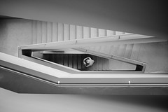 For further information please proceed to room no. 5798. (.martinjakab) Tags: fujifilm stiegenhaus treppen x100t architecture bw blackandwhite monochrome person schwarzweiss staircase