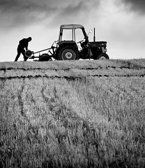 Ploughing Match Mono (Carolbreeze99) Tags: bw agriculture ploughing competition horizon labour old vintage tractor plough dorset melpash dramatic light shadow stubble