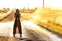 Jamie (austinspace) Tags: woman portrait moseslake washington outskirts sunset dust hot magichour dusk sprinkler highway