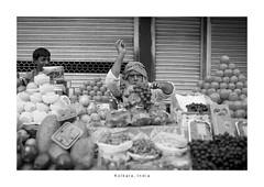 India Portrait - Kolkata (Vincent Karcher) Tags: asia india vincentkarcherphotography art beauty blackandwhite culture documentary human noiretblanc people portrait project reportage rue street travel voyage world kolkata man fruit market inde