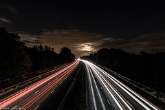 Light Trails M56 Southbound - Moore Camera Club (joanjbberry) Tags: moorecameraclub light trails lighttrails night motorway dark sky clouds traffic cars lorries clubnight road nighttime m56 southbound