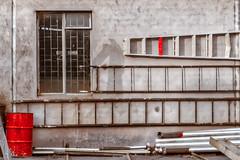 Walls And Ladders [Explored] (Daniela 59) Tags: wall wallwednesday ladders drum pipes window building outbuilding farm farmhelenenhof otjiwarongo namibia selectivecolour danielaruppel