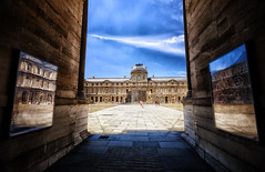 The Louvre Museum Paris, France (` Toshio ') Tags: toshio paris france louvre museum palace courtyard europe european europeanunion musedulouvre clouds sky fujixe2 xe2