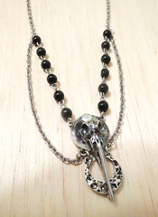 Handmade Bird Skull Necklace (shaire productions) Tags: jewelry skull bird custom handmade necklace silver beads art artistic crafts nature aviary natural pendant dark goth gothic horror creation vampire vamp magick magic magical design designer