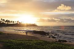 Sunrise, Kauai-style (ejmoreno783) Tags: 2016 6d canon emoreno hawaii honeymoon sunrise father daughter beach poipu kauai hi clouds lens flare sand ocean morning warm rays sky sea golden hour