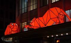 Bright Felines (yanoche) Tags: lausane mylausanne lausannelumieres lausannelumiere2016 tigers origami light art artwork playingwithball redlight suisse switzerland wintertime night lava flin feline