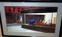 THE TICK AT PHILLIES RESTAURANT IN THE PAINTING NIGHTHAWKS (vsndesigns) Tags: beta the tick vs arthur sentinel prime optimus successor townsend coleman lego minifig minifigure dcon 2014 ball mylar balloon buttons bonanza pencil indie shocker gbjr toys with tie and tshirt zombie in a steel box fox promotional totally kids magazine 45 club spoon taco bell meal commercial eli stone ben edlund little wooden boy comic book merchandise rare limited edition 80s 90s collector museum naked super hero heroine collection photo screen