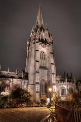 The University Church of St Mary the Virgin (SKG168) Tags: oxford church university mary night hdr buildings uk british steeple nightphotography longexposure nightsky bicycle street streetlights canon