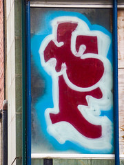 The Red Angel (Steve Taylor (Photography)) Tags: red angel art graffiti mural streetart window blue white glass newzealand nz southisland canterbury christchurch city cbd shape outline