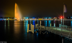 Orange the World (Yee-Kay Fung) Tags: geneva genève orangetheworld switzerland jetdeau cityscape lakeside nightscape