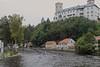 Nearing the Finish Line with Rožmberk Castle on the Hill (smilla4) Tags: paddling boats race finishline vltavariver moldau czechrepublic houses rozmberkcastle rozmberknadvltavou