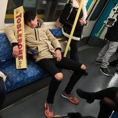Toblerone Man (stevedexteruk) Tags: toblerone chocolate tube underground train carriage london transport sleeping 2016