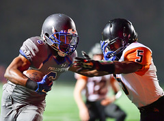 The stiff-arm (Q Win) Tags: football highschool keywanee phillips playoff wendell boilermakers outdoor tur wildcats chicago il unitedstates usa field game sport team ihsa motion blur