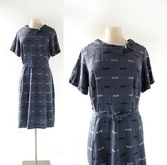 1950s Prussian Fog dress with rhinestone decoration (Small Earth Vintage) Tags: vintagefashion smallearthvintage vintageclothing dress 1950s 50s grayishblue gabardine rhinestones
