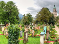 The cemetry in Berchtesgaden (Digidoc2) Tags: cemetry berchtesgaden germany graves beauty peace church trees clouds grave yard graveyard