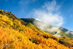 Peaks in Fog (Mike Blanchette) Tags: autumn mountain sunrise rockies colorado silverton fallcolors foliage rockymountains aspen aspentree