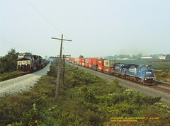 .(SEE & HEAR)-CR 6144, NS 8999 STATE LINE, PA 9-20-1998 (jackdk) Tags: nyc railroad train ns railway locomotive ge cr stateline norfolksouthern conrail nkp c408w c449w nickleplate stacktrain c408 trailertrain gelocomotive waterlevelroute