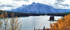 Two Jack Lake, Banff National Park  - ps6484-88 (photos by Bob V) Tags: autumn panorama fallleaves mountains fall rockies autumnleaves autumncolours alberta banff rockymountains mountainlake albertacanada banffnationalpark fallcolours banffalberta twojacklake banffpark banffalbertacanada cans2s mountainpanorama
