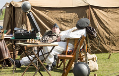 A Sleep while waiting to be scrambled (Beth Hartle Photographs2013) Tags: duxford reenactment raf scramble dispersal homeguard wraf middlewallop 609sqndispersal 1940battleofbritainairshow airtrafficcontrolcaravan wrafdriver 1937vauxhallcar