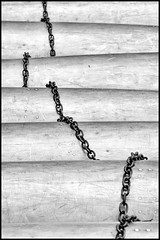 Curves and Chains No. 1 (Dalliance with Light (Andy Farmer)) Tags: bw abstract monochrome metal pattern chain canoes sheetmetal