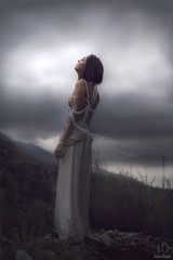 Unraveled ({jessica drossin}) Tags: light sky woman mountain inspiration sorry girl lady clouds photography hope freedom pain dress darkness wind bare web slip gloom unraveled jessicadrossin wwwjessicadrossincom jdbeautifulworldcollection