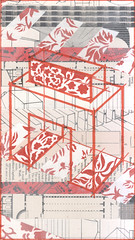 Architecture, red (kurberry) Tags: collage architecture arch cutpaste tracingpaper vintageephemera architecturalcollage
