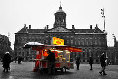Hot Dog on a Cold Day - Amsterdam (Brett Littleton) Tags: travel winter blackandwhite cold amsterdam nikon europe selectivecolor hotdogstand nikond90 winterinamsterdam