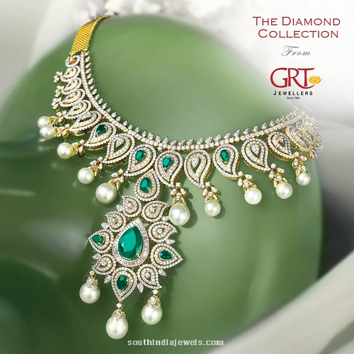 Diamond Emerald Pearl Necklace From Grt Jewellers A Photo On Flickriver