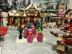 Carolers (Genghis Don) Tags: christmas trees holiday buildings holidays village lego streetlamps band bakery sweets singers birch carolers moc
