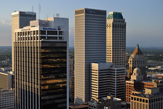 Downtown Tulsa Skyline (dsjeffries) Tags: tulsa bankofamericabuilding williamstower bankofamericatower boktower philtower downtowntulsa midcontinenttower firstplacetower thompsonbuilding