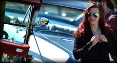 Charmed... (Papa Razzi1) Tags: girl sunglasses mirror hotrod charmed 2015 6301 213365 wheelsnationals2015
