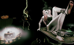 Look#226 - Happy Halloween (LoneSolitarian) Tags: second life secondlife sl virtual dark light shadow art firestorm gimp photography windlight photo sim 3d lumipro female woman feminine girl human avatar people beauty model charm lovely attractive fashion lone blonde halloween witch