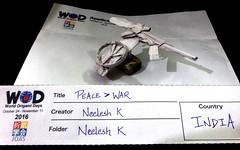 ORIGAMI - PEACE > WAR (WORLD ORIGAMI DAYS 2016) (Neelesh K) Tags: origami peace war gun symbol wod world days 2016 r