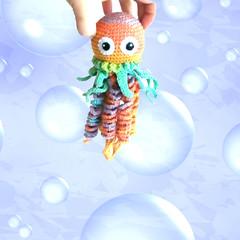 crochet_jellyfish_on_therapy_hand_ball_by_eastfolk (eastfolk) Tags: crochet handmade toy small durable jellyfish baby kids fine motor skills development organic soft sea life stuffed animal